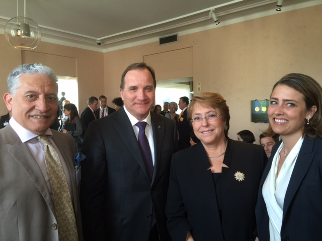Artist of the bust of Harald Edelstam, Mr. Luciano Escanilla, Prime Minister of Sweden, Mr. Stefan Löfven, President of Chile, Ms. Michelle Bachelet, and Ms. Caroline Edelstam, President of Edelstam Foundation.